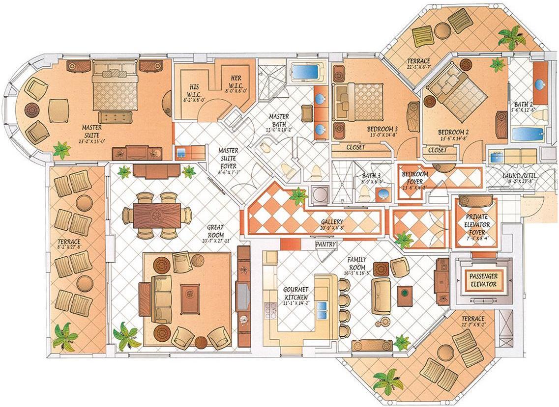 West Penthouse Floor Plan | Selling Singer Island
